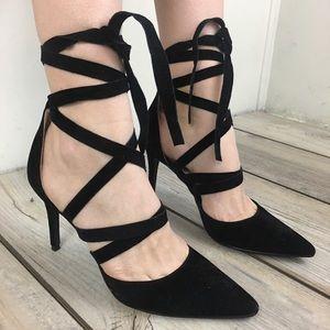 Lulu's Velvet Pointed Toe Wrap Around Heels